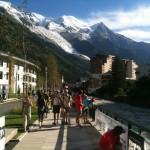 la dernière ligne droite la veille du départ, face au Mont Blanc