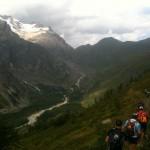 traversée à flanc au dessus du Val Ferret et face au Mont Dolent