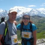 Sandrine et moi au col d'Anterne avec le Mont Blanc en toile de fond